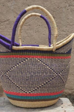 Multicoloured Large Ushopper Bolgatanga Basket