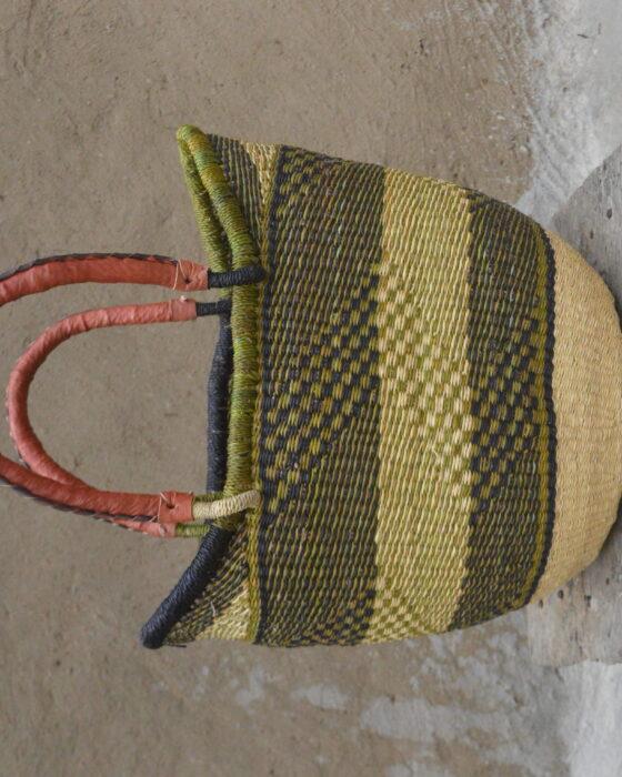 Green and Blue Large Ushopper Bolgatanga Basket