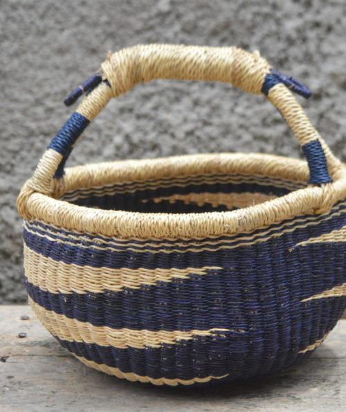 Small Blue and Yellow Round Bolgatanga Basket