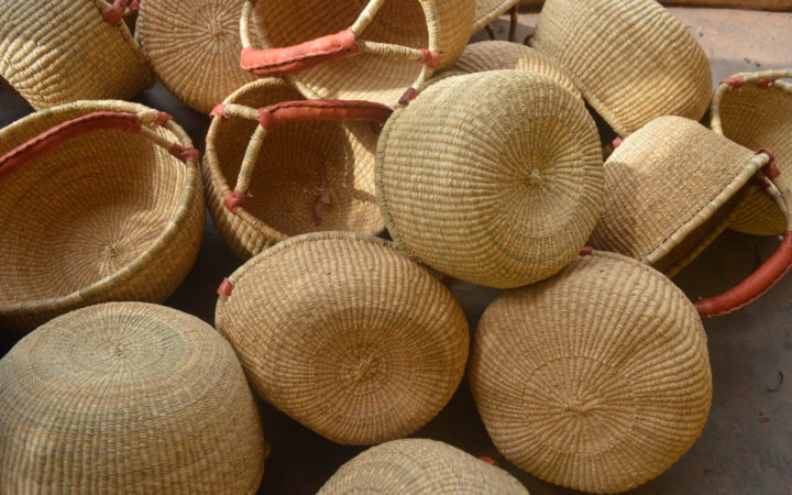 natural straw round market baskets