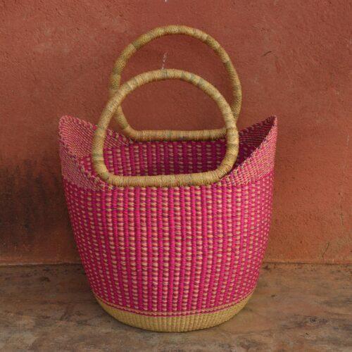 pink straw basket handmade natural pink summer baskets