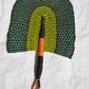 handmade fan green fan orange fan bolga fan straw fans woven handwoven hand held fans wholesale