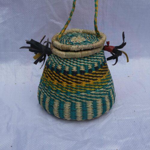 green yellow honey pot basket bolga baskets african ghana handmade luxury bags leather